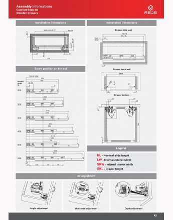 Undermount drawer runners push open - 3D slide - up to 19mm board
