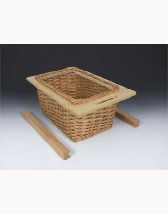 Wicker basket drawer with handle - hand made