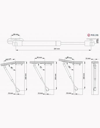 Gas Strut Lid Stay Cabinet Door hinge Soft Open/Close 50, 60, 80, 100, 120, 150 Nm