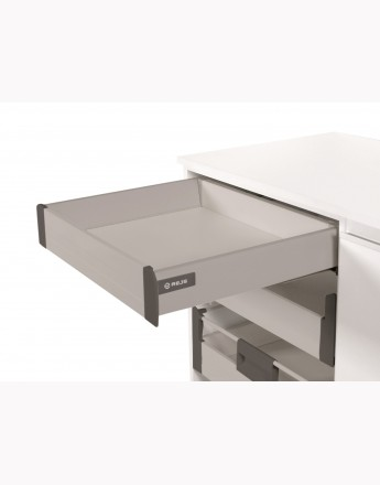 Comfort Box Front drawer - soft close - silver - round